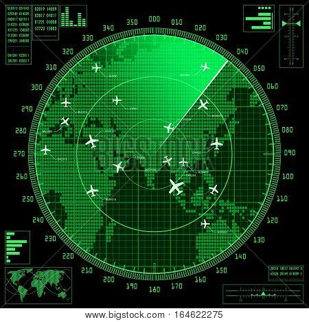 Green radar screen with planes and world map. Vector EPS10.