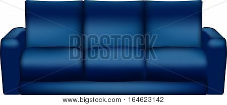 Isolated Blue sofa oo white background - Vector Illustration