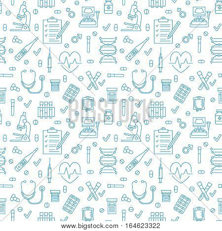 Medical seamless pattern , clinic vector illustration. Hospital thin line icons - thermometer, check up, diagnostic, microscope, stethoscope. Cute repeated texture business presentation.