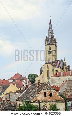 Sibiu, Romania - August 10, 2016: The Lutheran Cathedral Of Saint Mary, Most Famous Gothic-style Chu