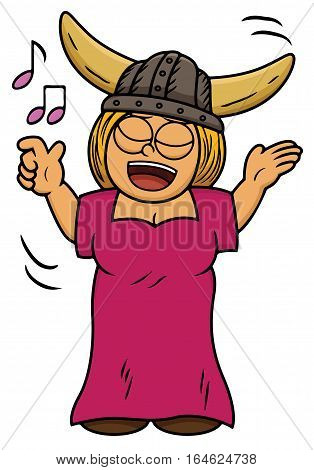 Cartoon illustration of a viking woman singing song. Vector character.