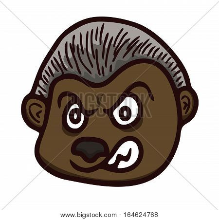 Cartoon illustration of werewolf head. Vector horror character.