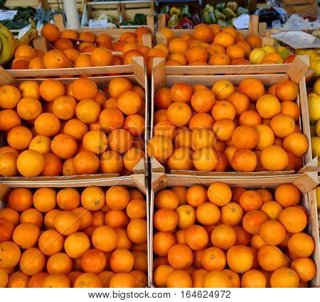Basket Of Oranges With Natural Treatments Without Chemical Addit