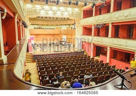 Sibiu, Romania - August 10, 2016: Detail Of Philharmonic, Indoor