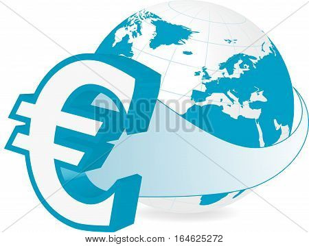 Rastered illustration of earth with euro currency symbol