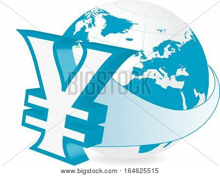 Rastered illustration of earth with currency yen symbol