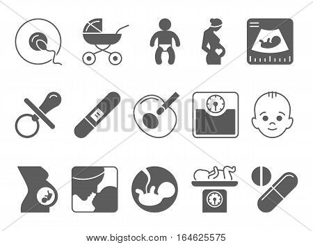 Medicine, pregnancy and motherhood vector icons set. Baby and weighing, scales and uzi, health medical and care child, mother birth illustration