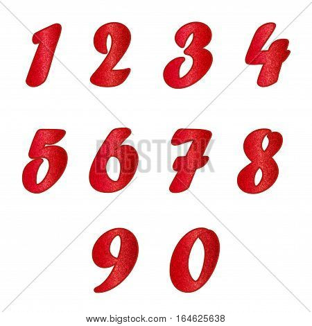 Standard set of numbers. Bright vector collection in ruby, red colors with spangles. Can be used as a design element, independent project, in web draft, etc. Isolated on white background. Square.