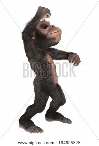 3D Rendering Little Chimpanzee On White