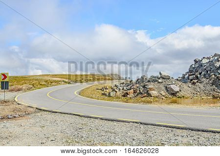 Transalpina Road With Rocks And Grass Hills,  Parang Mountains Group, Highest Road Of The Carpathian