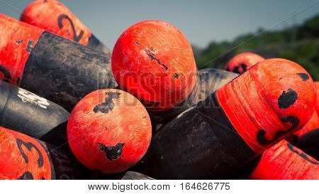 Colorful lobster buoys in Prince Edward Island