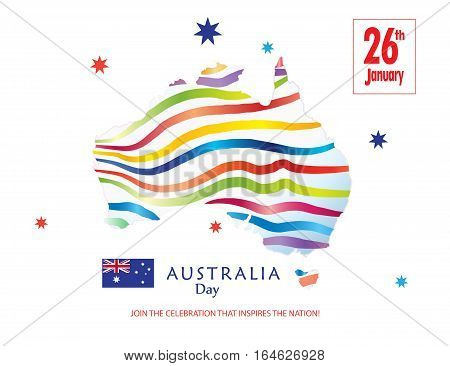 Australia day 26th January inscription poster with Australia map and Australian flag on white background. Greeting card design. Festive Vector illustration.
