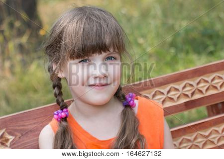 Happy pretty little girl sits on wooden beanch at sunny summer day