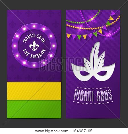 Set of vector mardi gras brochures. Fat tuesday symbols and shining beads on traditional colors background