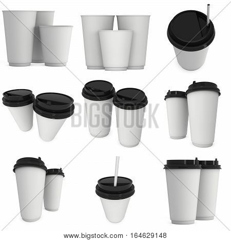 Disposable coffee cups set. Blank paper mug with plastic cap. 3d render isolated on white background