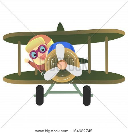 Vector Illustration of Baby Pilot Riding a Plane