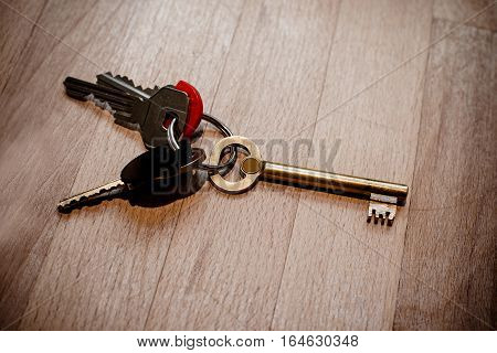 Vintage key on Low key background, still life