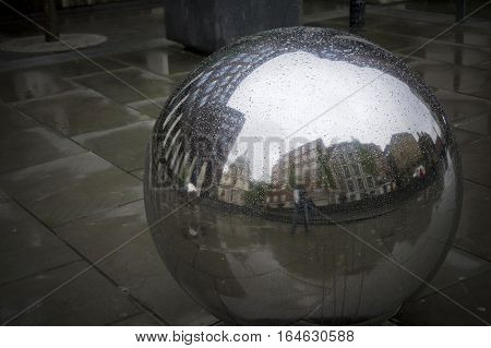 st.paul's cathedral reflecting in a sphere in london