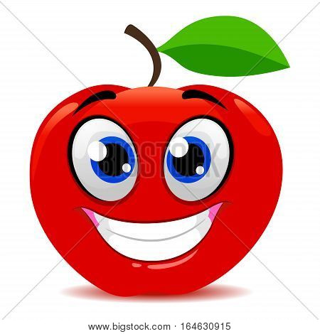 Vector Illustration of Red Apple Mascot Smiling
