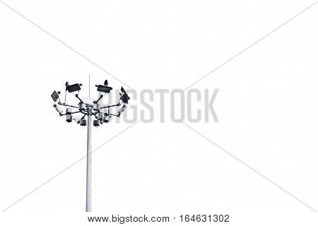 Light poles and street lights isolated on white.
