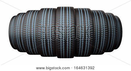 Winter tires with a shining protector isolated on the white background, 3D illustration