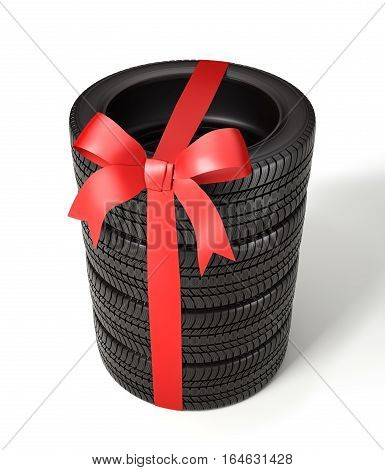the tyres are stacked and packaged as a gift, wrapped red ribbon and bow on white background, 3d illustration