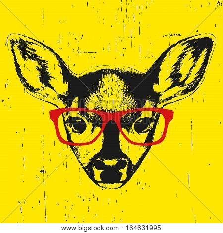 Portrait of Fawn with glasses. Hand drawn illustration. Vector