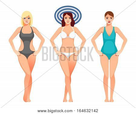 Women in swimsuit. Beautiful girls in bathing suits of different types. Vector illustration