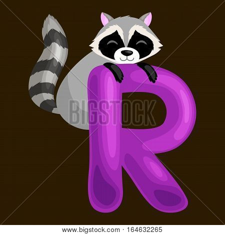 raccoon animal and letter R for kids abc education in preschool.Cute animals letters english alphabet. Cartoon animals alphabet for learning letters vector illustration. Single letter with wild animal raccoon