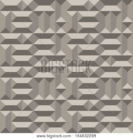 Seamless geometric architectural pattern. Convex metallic texture with rectangular and square pyramids. Gray colored background. Vector