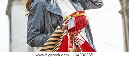 Stylish Christmas in Paris. elegant woman in trench coat with shopping bags and Christmas present near Arc de Triomphe in Paris France looking into the distance