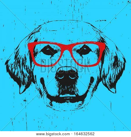 Portrait of Golden Retriever with glasses. Hand drawn illustration. Vector.