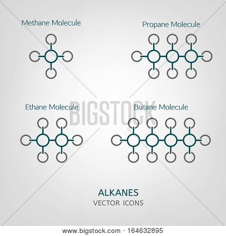 Propane, methane, ethane and butane molecules in iconic style. Vector Alkanes illustration isolated on a light grey background. Scientific, educational and popular-scientific concept.