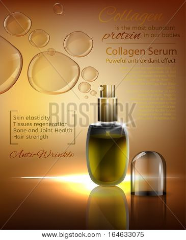 Transparent glass flacons with gold elements on a radiant bronze background with shiny bubbles. Beautiful vector illustration in realistic style. Cosmetic, skin care or perfumery premium ad concept.