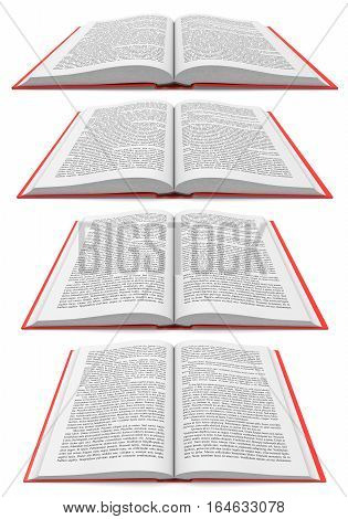 Open books in different perspectives on white background, 3d illustration