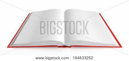 Open book on white background, 3d illustration