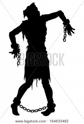 Illustration zombie victim silhouette with a sack on his head with chains on hands and feet. He was tortured and risen