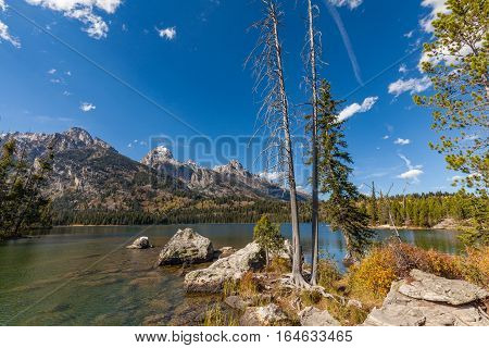 scenic Taggart lake in the wilderness of Teton national Park Wyoming