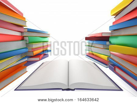 Open book and a stack of books on white background, 3d illustration