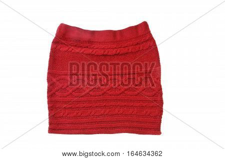 Red knitted mini skirt isolated over white background