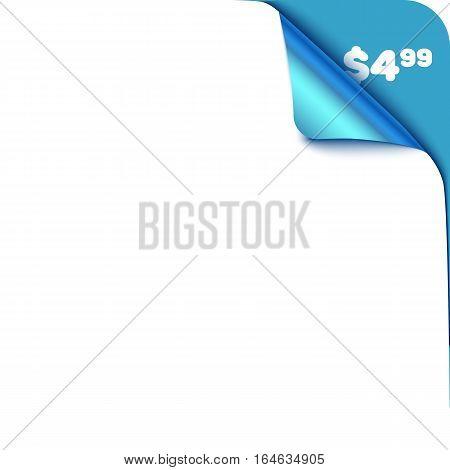 Realistic vector blue corner element for sale, promo. Curved corner