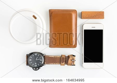 wallet with Watch and coffee cup flat lay top view background