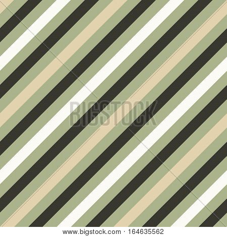 Seamless geometric pattern. Stripy texture for neck tie. Diagonal contrast strips on background. Olive, beige, cream soft colors. Vector