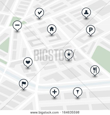 Vector illustration. Set of icons on the city map. Buttons for the interface route of the Navigator.