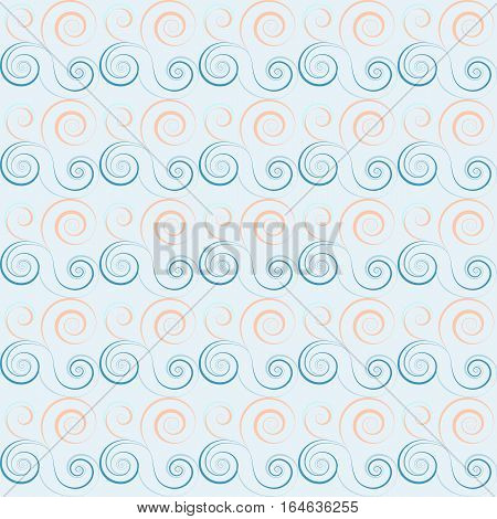 Seamless floral spiral pattern. Swirl, twirl lines. Twist, whirl, torsional ornament on light background. Blue, white soft colored. Vector