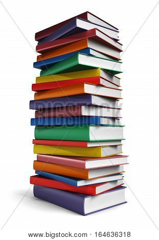 Tall stack of Book isolated on white background, 3d illustration
