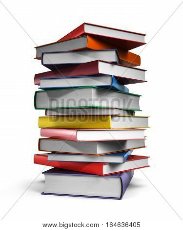 Pile of books isolated on white background, 3d illustration