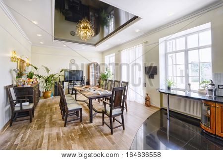 large dining table in a luxurious house