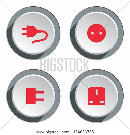 Electric socket base icon set. Power energy symbol. Round red circle flat sign on three dimensional button with shadow. Vector