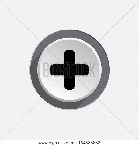 Plus sign icon. Positive symbol. Zoom in. Black silhouette on round white three dimensional button. Vector isolated